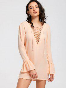 Flare Sleeve Lace Up Shift Dress - Orange S