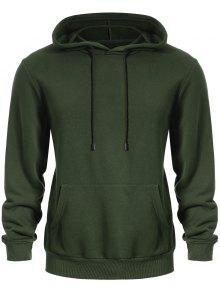 Pullover Kangaroo Pocket Hoodie - Army Green L