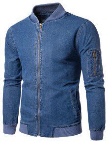 Stand Collar Zip Up Denim Jacket - Blue Xl