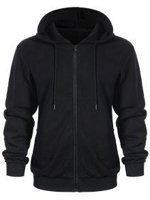 Pockets Zip Up Hoodie - Black L