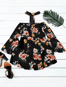 Flare Sleeve Choker Floral Romper - Black Xl