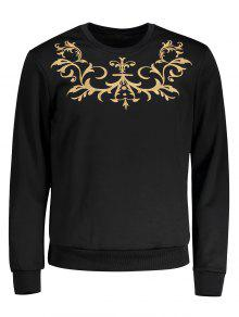 Crew Neck Embroidered Sweatshirt - Black M