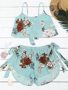 Bowknot Top Floral Y Pantalones Cortos De Cintura Alta - Azul Claro M