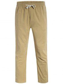 Casual Pockets Drawstring Pants - Light Khaki L