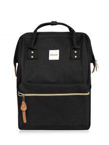 حقيبة الظهر بقماش الكتاني مريحة - أسود