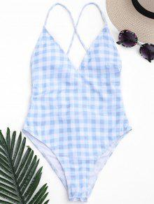 One Piece Checked High Cut Swimsuit - Blue And White M