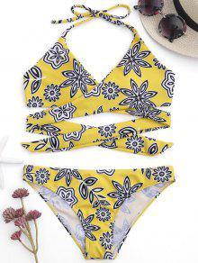 Padded Floral Wrap Bikini - Yellow M
