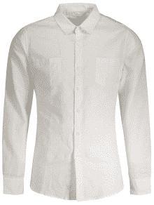 Linen Slim Fit Pockets Shirt - White 2xl