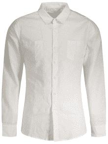 Linen Slim Fit Pockets Shirt - White M