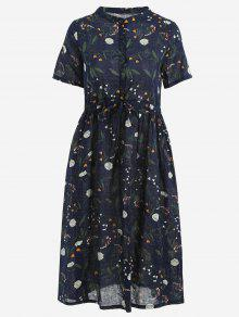Floral Print Drawstring Dress - Purplish Blue M