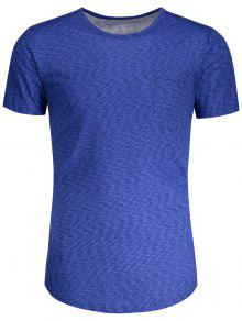 Camiseta Heathered De Bolsillo - Azul M