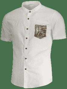 De De Lino Xl Blanco De Camisa 243;n De Hoja Impresi Bolsillo wXTdq8f