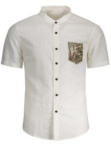 Linen Pocket Leaf Print Shirt - White M