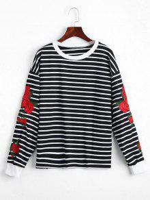 Sweat-shirt Rayé à Motifs Floraux - Noir