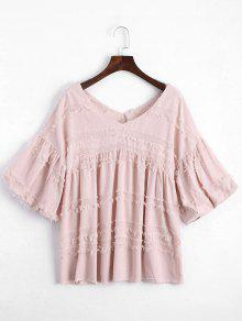 V Neck Lantern Sleeve Plain Blouse - Pink L