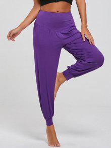 Pantalones De Yoga Ajustados A La Altura De La Cintura - Púrpura M