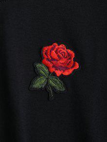 Recortado Negro Arco Bordado Floral Top Atado S rnxx46tX