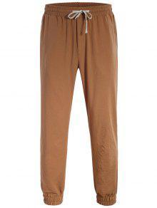 Men Drawstring Jogger Pants - Light Brown 2xl