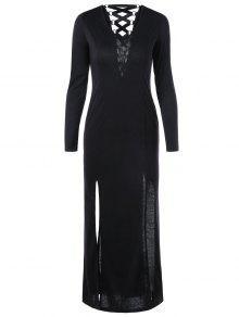 الدانتيل يصل كم طويل فستان الشق عالية - أسود L