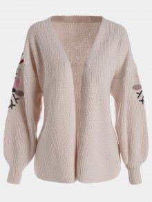 Floral Embroidered Lantern Sleeve Cardigan - Pink