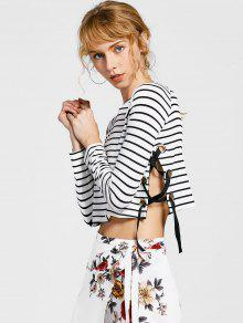 Knitting Lace Up Striped T-shirt - Stripe S