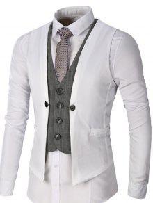معطف صدرية بأسلوبين بالصدر الواحد - أبيض 2xl