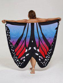 Plus Size Butterfly Wrap Cover Up Dress - Blue And Red 5xl