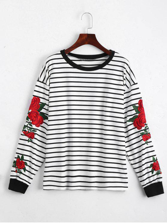 Camiseta rayada remendada floral - Blanco Única Talla
