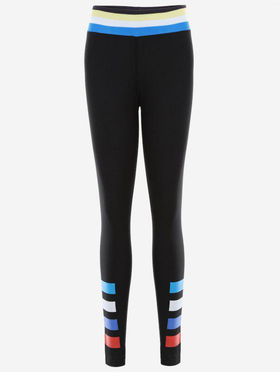 Slim Fit Color Block Leggings sportifs - Noir XL