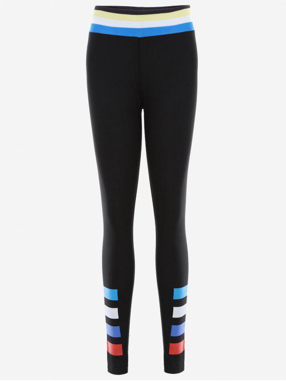 ladies Slim Fit Color Block Sporty Leggings - BLACK S