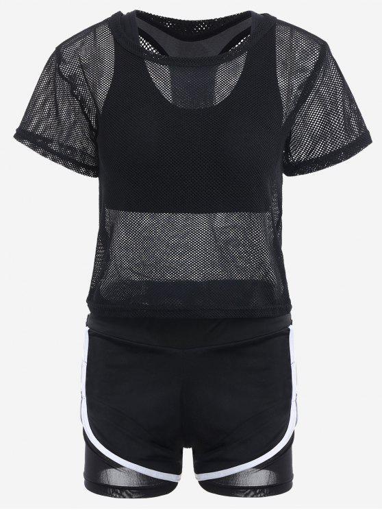 Costume de sport à trois pièces en mailles - Noir S