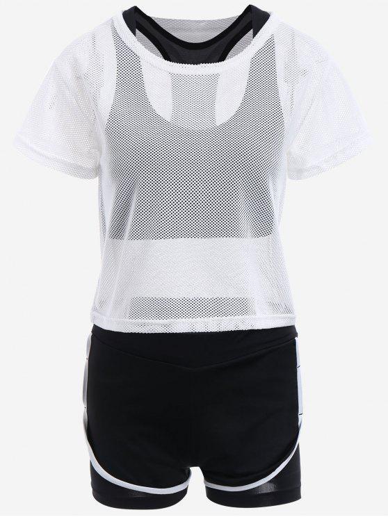 Mesh Dreiteiliger Sportanzug - Weiß M