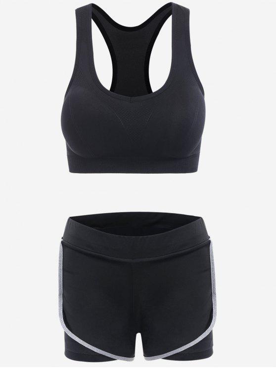 Traje de deporte de tres piezas de rayas laterales - Negro M