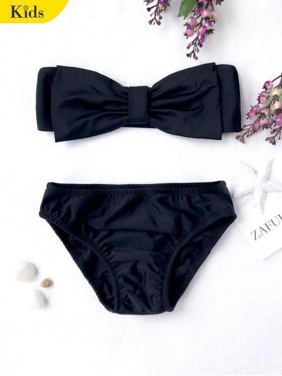 new Kids Strapless Bowknot Bikini Set - BLACK 8T