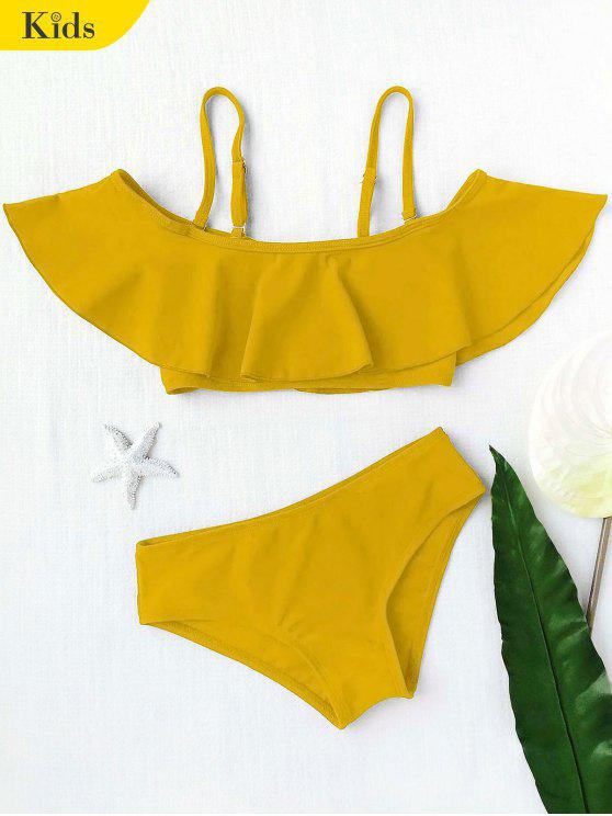 outfit Layered Off The Shoulder Girls Bikini Set - GINGER 4T