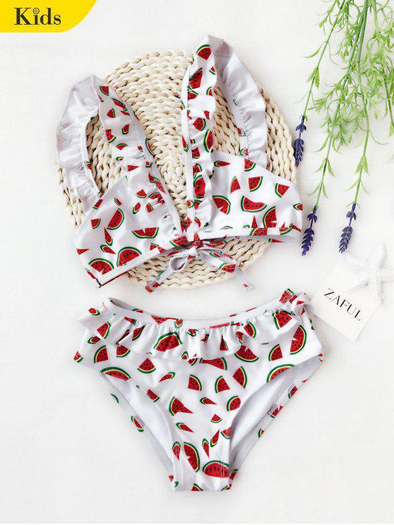 unique Watermelon Print Ruffles Kid Bikini - WHITE 8T