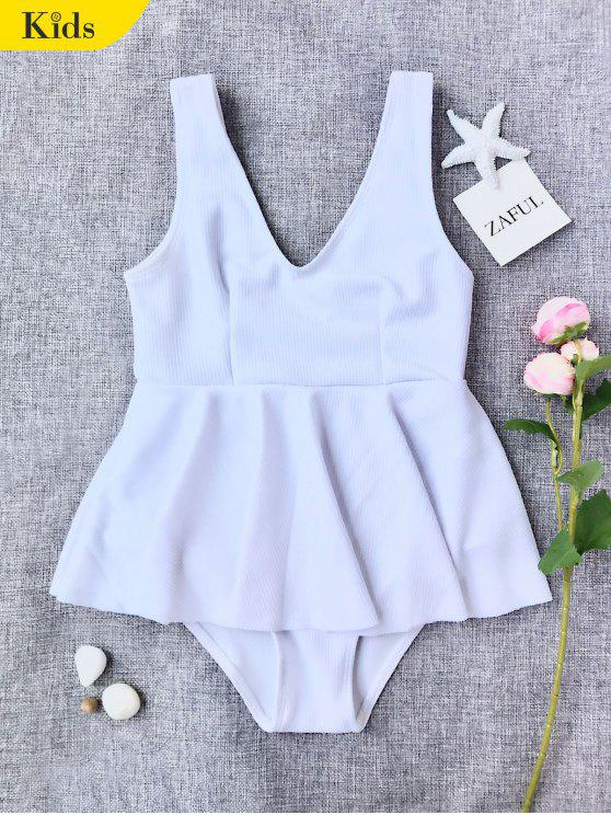 womens Ruffles Ribbed Kids One Piece Swimsuit - WHITE 8T