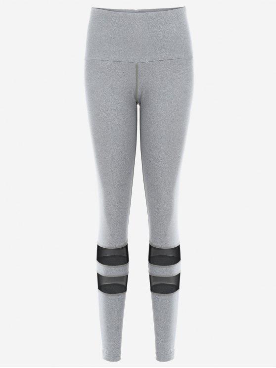 Mesh Leggings Actifs Yoga - Gris XL