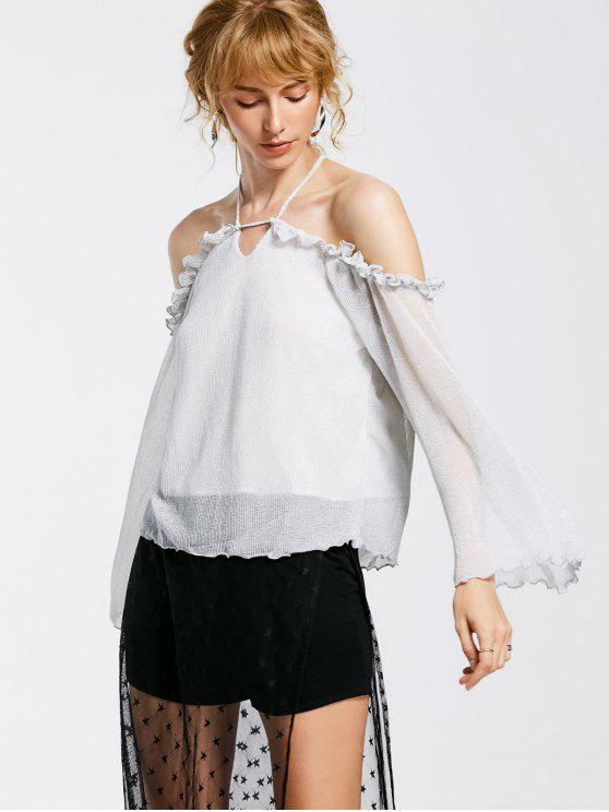 lady Shiny Ruffles Cold Shoulder Top - SILVER S