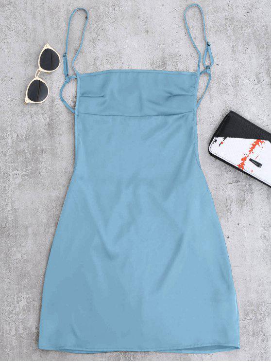 women's Backless Mini Slip Dress - LAKE BLUE S