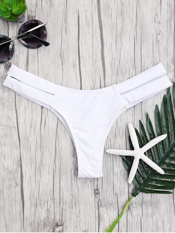 latest Bandage Cut Out Bikini Bottoms - WHITE S