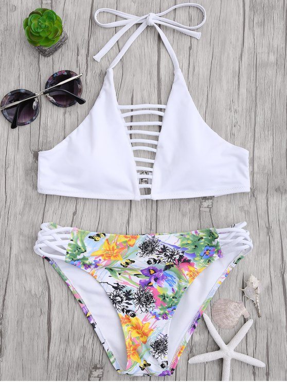 fancy Cut Out Strappy Top with Floral Bikini Bottoms - WHITE L