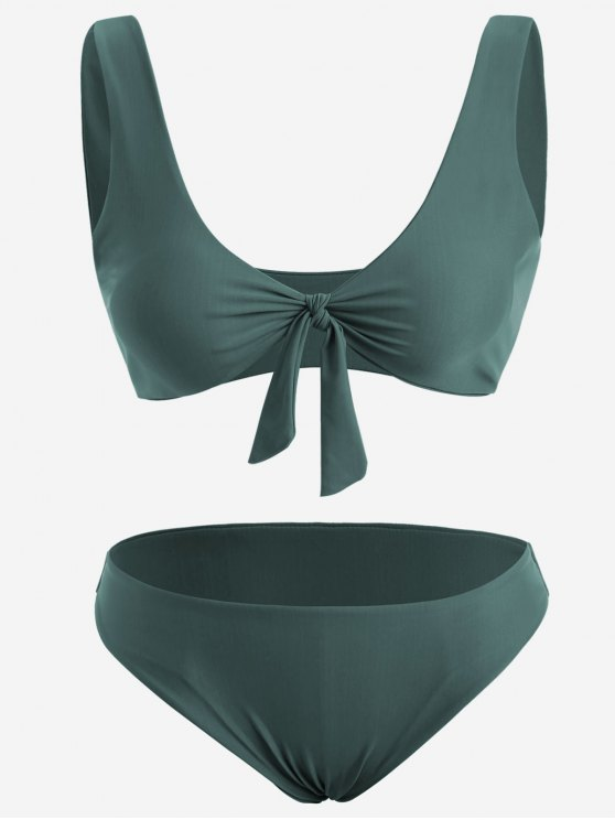 lady Front Knot Plus Size Bikini Set - BLACKISH GREEN 4XL