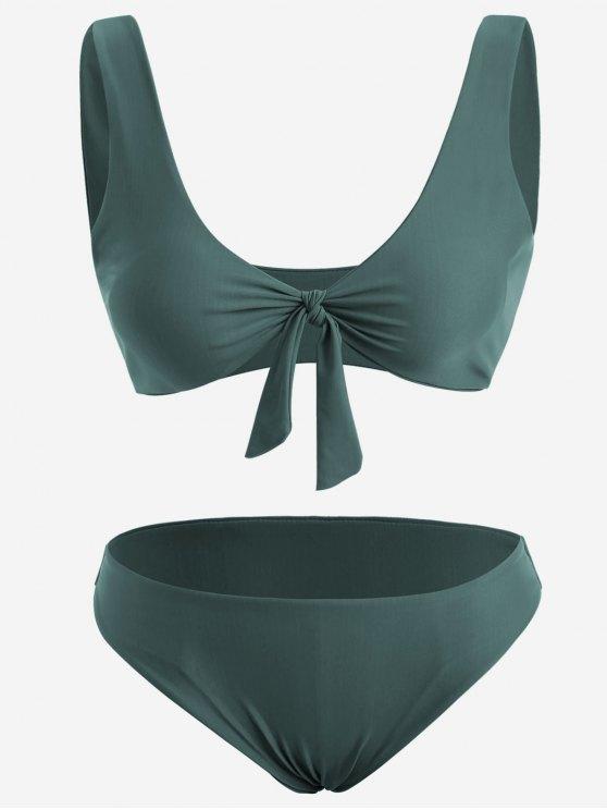 online Front Knot Plus Size Bikini Set - BLACKISH GREEN 2XL
