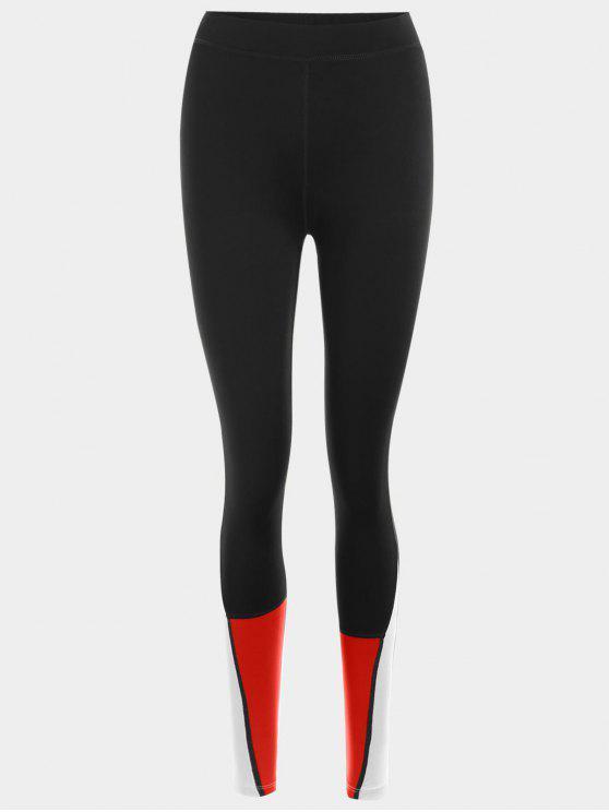 Bloqueio de cores Leggings esportivos - Vermelho L