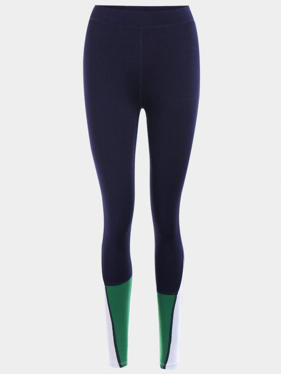 buy Color Block Sports Leggings - PURPLISH BLUE S