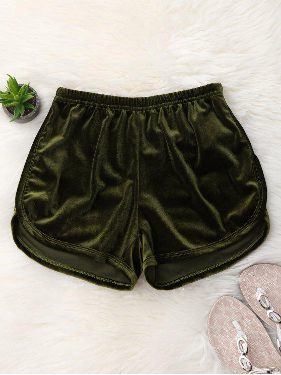 Pantaloncini In Velluto Casuali A Vita Elastica - Verde Dell'esercito S