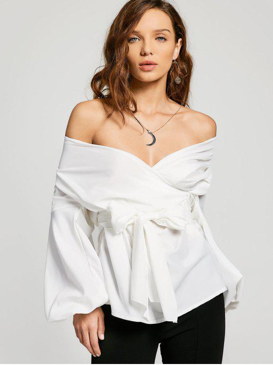 latest Belted Off Shoulder Blouse - WHITE XL