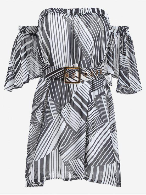 فستان مربوط مخطط مع حزام الشعر - أسود حجم واحد