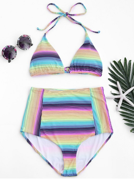 women Striped High Waisted Bikini Set - STRIPE L
